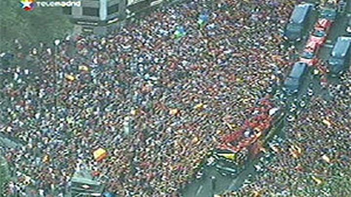 La recepción a la selección, la concentración más numerosa jamás registrada en Madrid