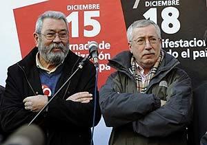 Los representantes de los sindicatos Cándido Méndez e Ignacio Fernández Toxo