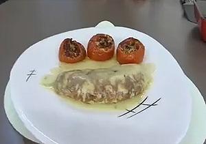 Chipirón con vinagreta de morrón y tortilla de anchoas