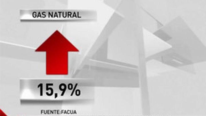 El gas natural sube un 1,2% y la bombona de butano un 1,9%