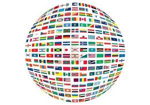 Globo terráqueo con banderas