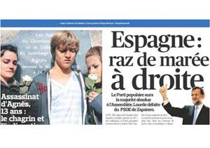 Portada de Le Figaro del 21 de noviembre, tras las elecciones generales de 2011 en España