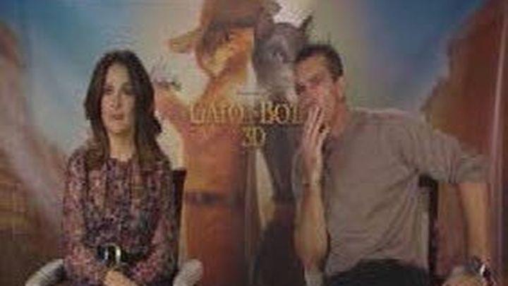 Antonio Banderas y Salma Hayek presentan en Madrid El Gato con botas