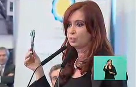 Cristina Fernández de Kirchner, en la rueda de prensa en la que ha anunciado la intención de nacionalizar Repsol YPF