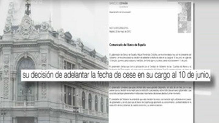 El Gobernador del Banco de España dejará el cargo el 10 de junio