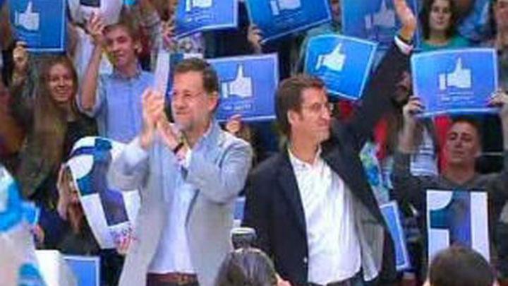 Rajoy y Rubalcaba se vuelcan en Galicia y arropan a sus candidatos en el cierre de campaña