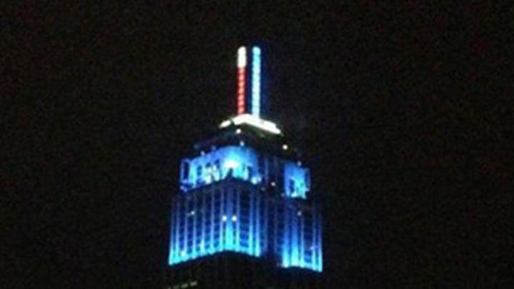 Empire State Building se bañó finalmente de luz azul con la victoria de Obama