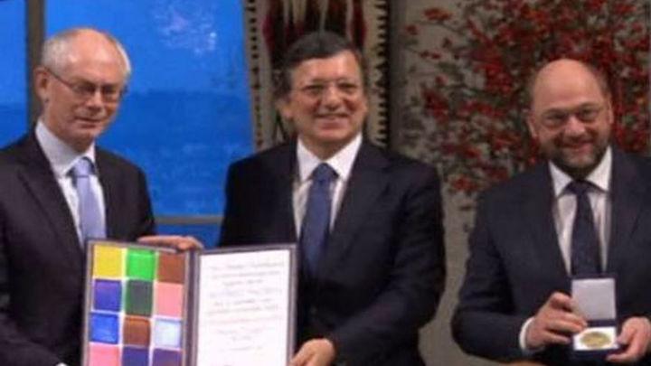 La UE recibe el premio Nobel de la Paz en el Ayuntamiento de Oslo