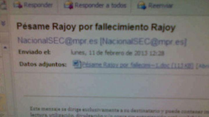 """Moncloa envía una nota en la que por error se  dice: """"Pésame Rajoy por fallecimiento Rajoy"""""""