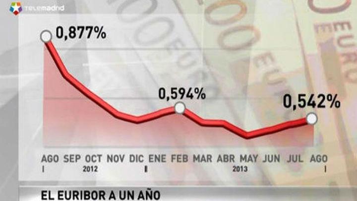 El Euríbor cierra agosto en el 0,542%  y abaratará la hipotecas en 225 euros anuales