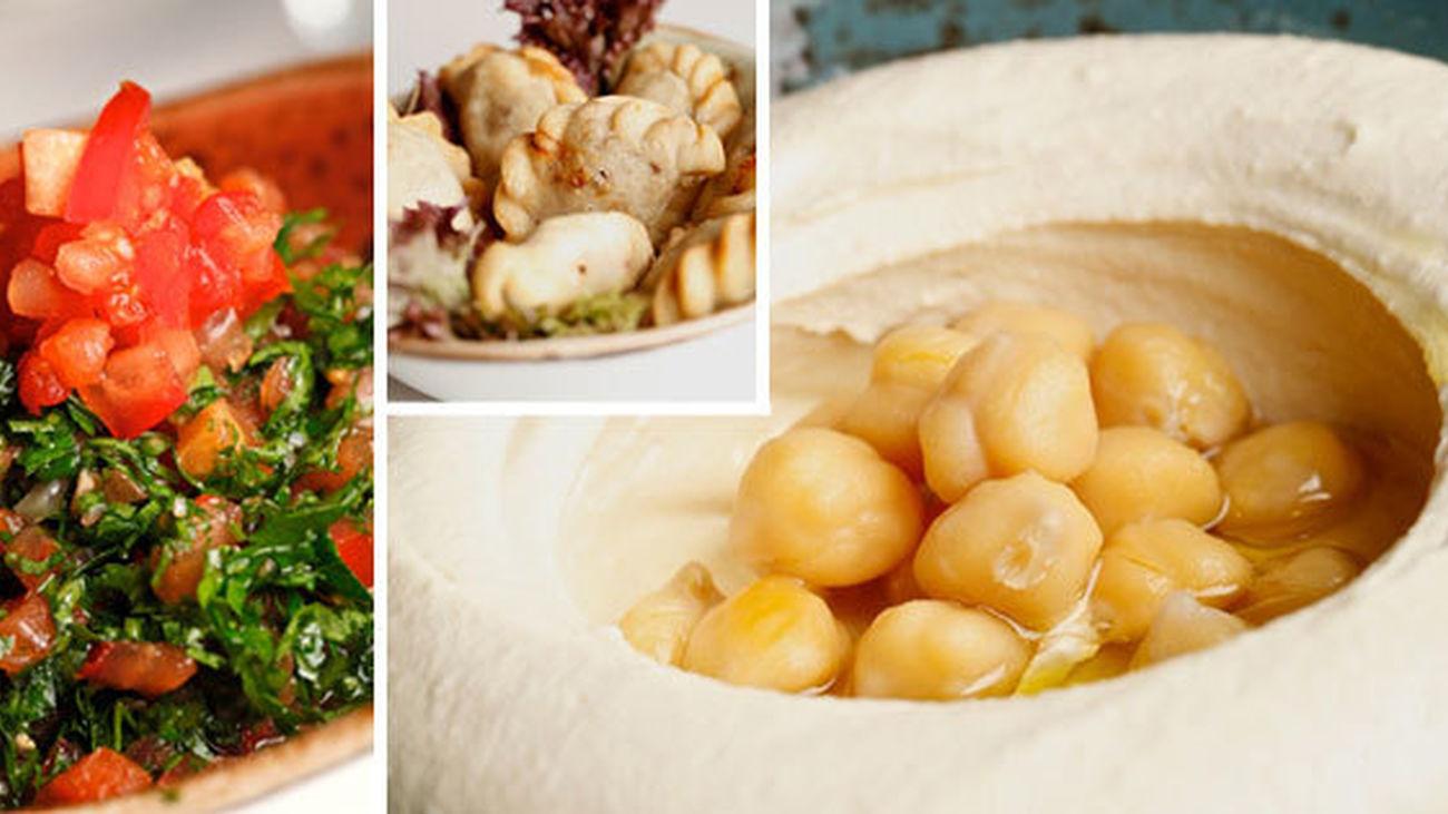 Tabbouleh, sambousek y hommous, platos típicos de la cocina libanesa