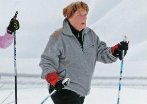 Angela Merkel esquiando