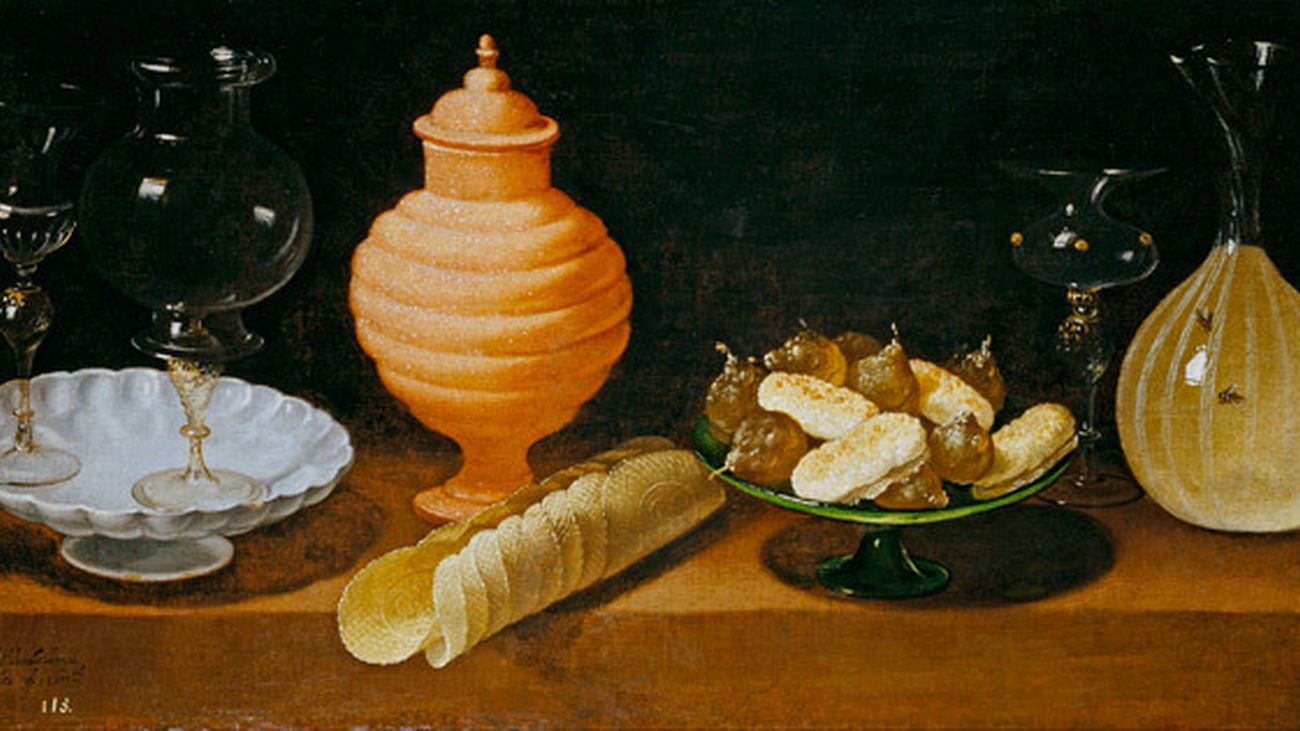 Bodegón con dulces y recipientes de cristal, de Juan van der Hamen. Obra expuesta en el Museo del Prado