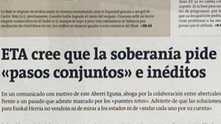 ETA aboga por la unidad entre abertzales para avanzar hacia la soberanía