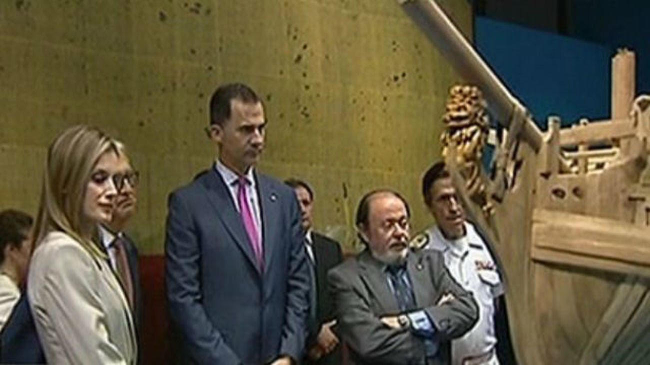 Los Príncipes de Asturias inauguran 'El ultimo viaje de la fragata Mercedes'