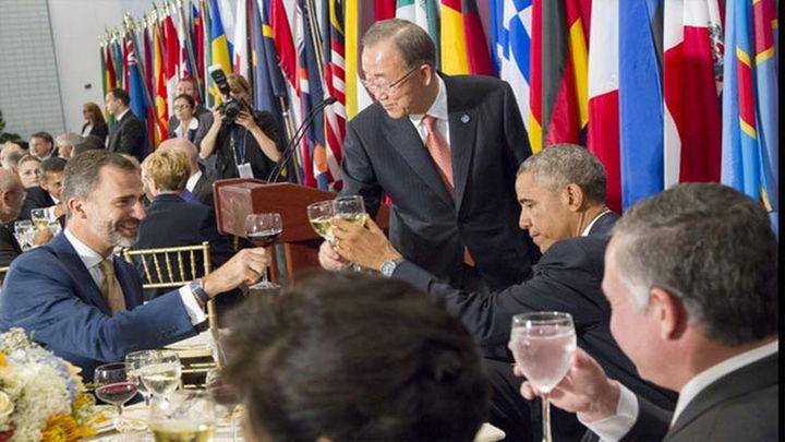 Felipe VI compartió con Ban y Obama la mesa principal del almuerzo de la ONU