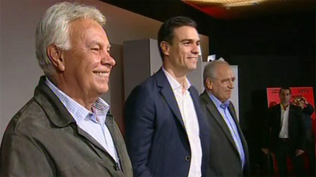 Felipe González, Pedro Sánchez y Alfonso Guerra