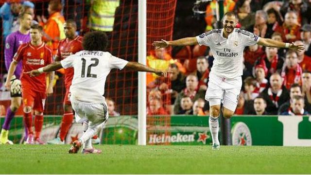 0-3. Chorreo del Real Madrid al Liverpool en Anfield con un doblete de Benzema