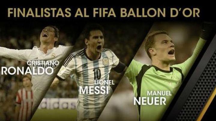 Cristiano, Messi y Neuer, finalistas al Balón de Oro