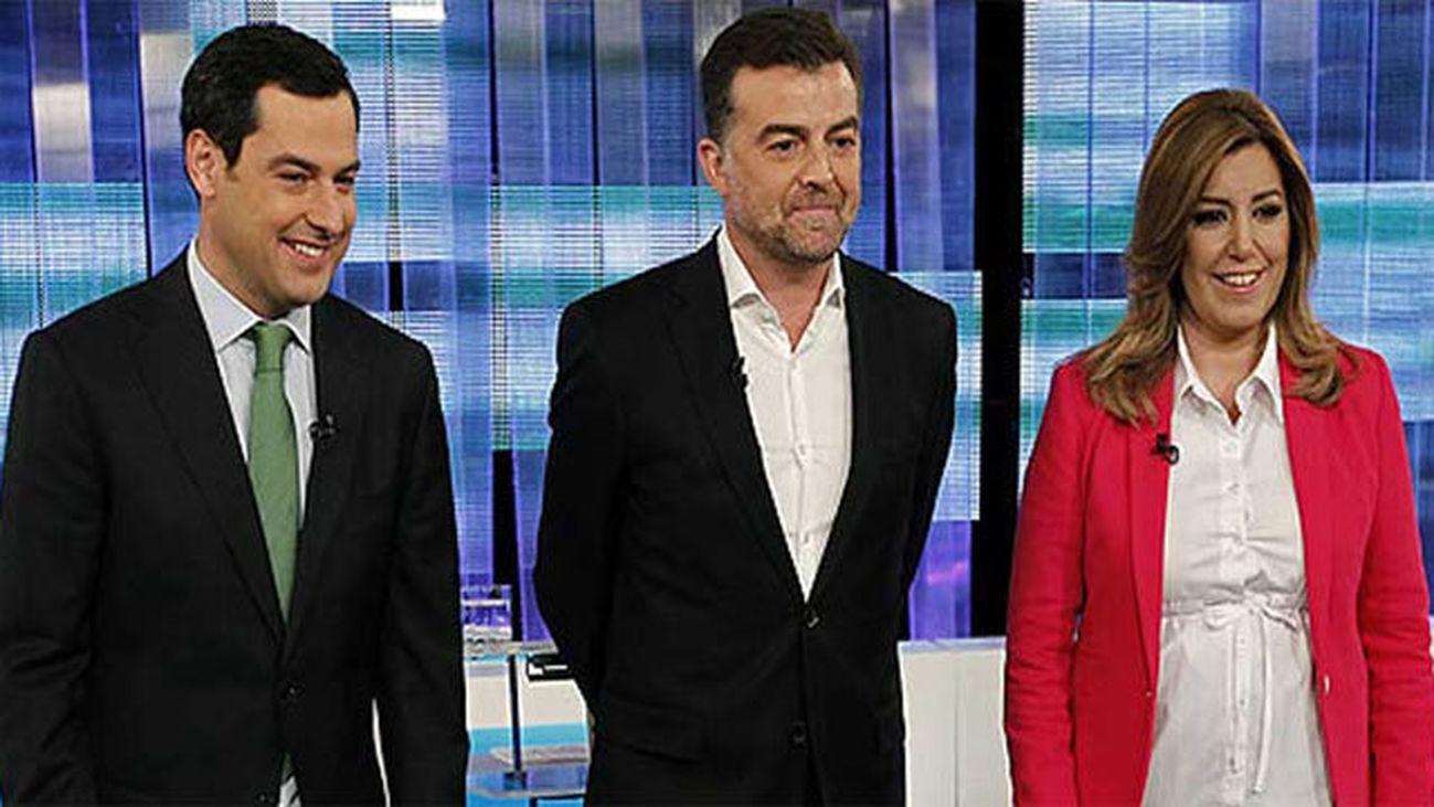 Juan Manuel Moreno, Antonio Maíllo y Susana Díaz ante del debate de RTVE