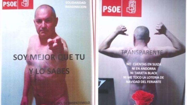 """Un candidato del PSOE se """"desnuda"""" en los carteles cubierto con una rosa"""