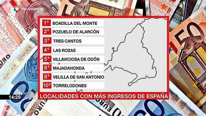 8 municipios madrileños entre los 10 españoles con mas ingresos de media