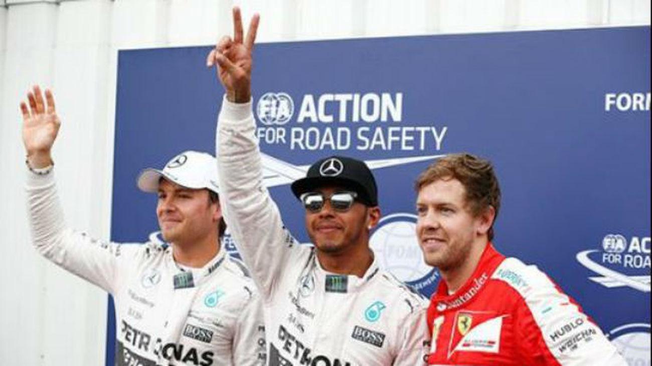 Rosberg, Hamilton y Vettel