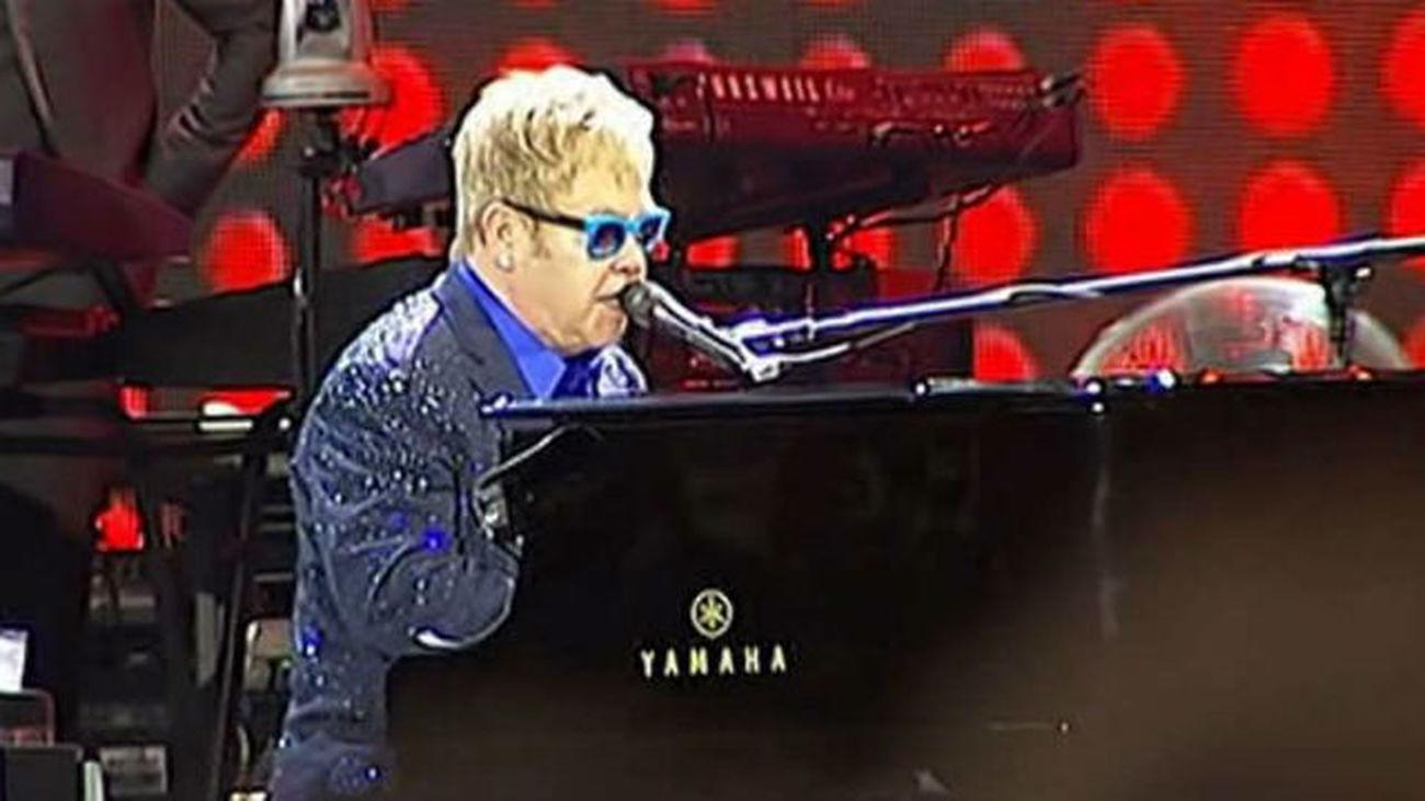 Sir Elton John y el rockero Lenny Kravitz, en vivo y en directo, en Madrid