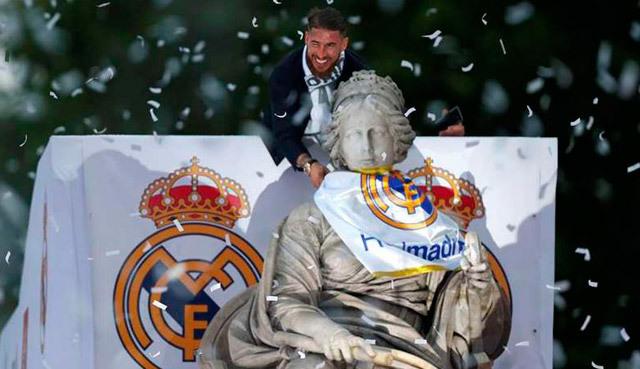 Sergio Ramos en Cibeles
