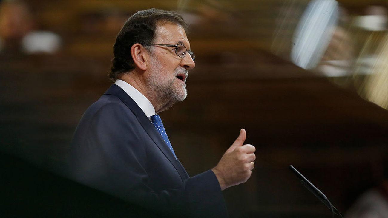 El presidente del Gobierno en funciones, Mariano Rajoy, durante su discurso de investidura esta tarde en el Congreso de los Dip