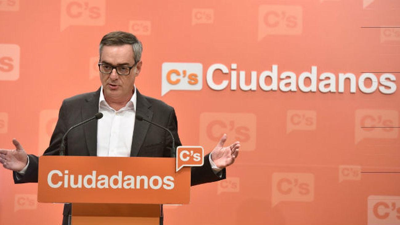 El vicesecretario general de Ciudadanos, José Manuel Villegas, durante su comparecencia en Madrid