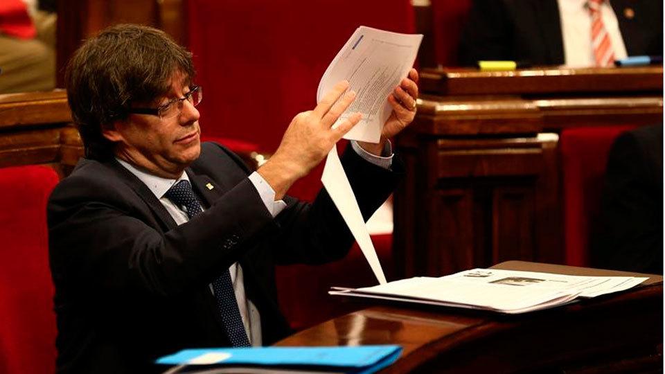 Puigdemont en la segunda jornada de la moción de confianza en Cataluña