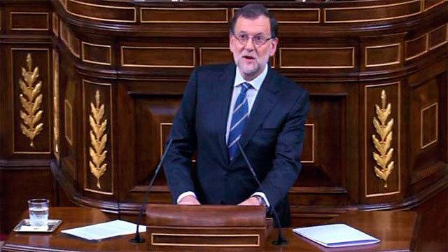 El candidato Mariano Rajoy en la tribuna