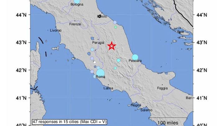 Un terremoto de 5,4 grados estremece la región central de Italia