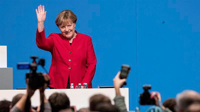 La canciller alemana, Angela Merkel, tras ser reelegida presidenta de la Unión Cristianodemócrata (CDU)