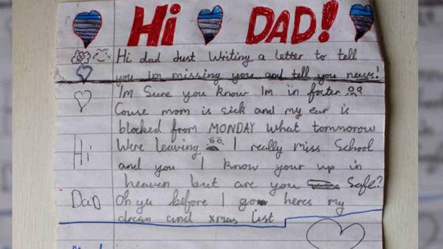 La emotiva carta de un niño a su padre fallecido