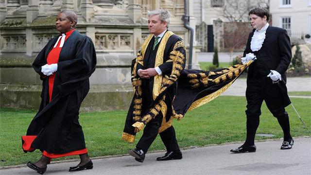 El presidente de la Cámara de los Comunes británica, John Bercow (en el centro)