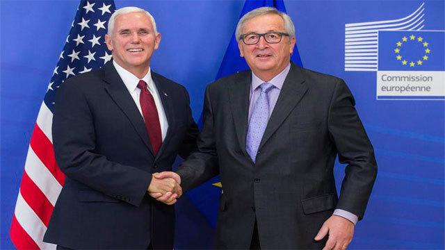 El vicepresidente de Estados Unidos, Mike Pence y el presidente de la Comisión Europea (CE), Jean-Claude Juncker