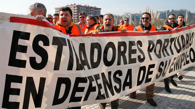 Manifestación de estibadores portuarios