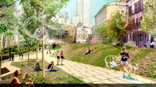 Los madrileños quieren una Plaza de España verde con centenares de árboles y circular