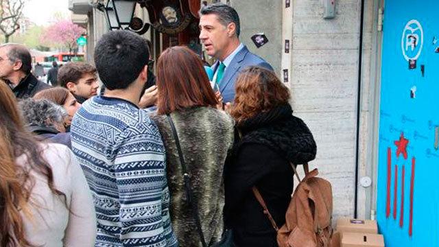 Xavier García Albiol, a las puertas de la sede barcelonesa de su partido