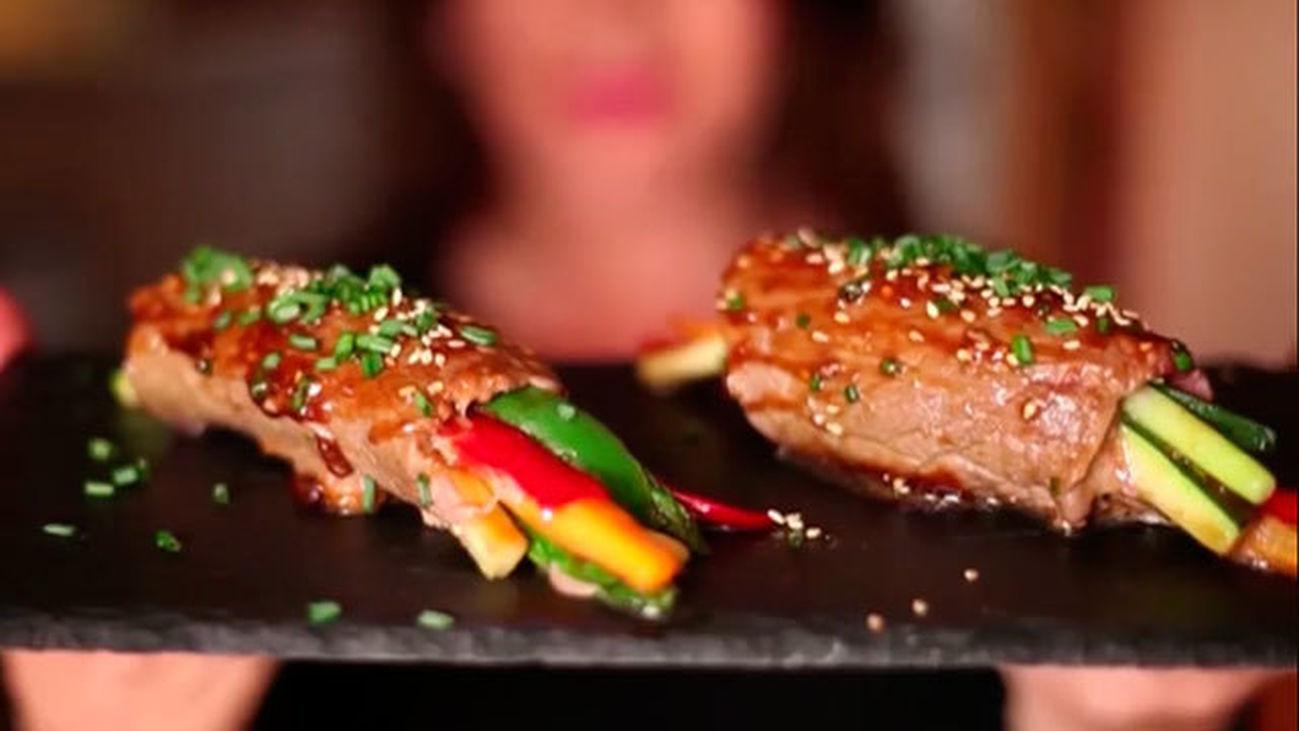 La receta del día: Rollitos de carne con vegetales y salsa teriyaki