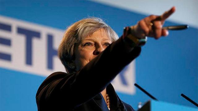 La primera ministra británica y líder del Partido Conservador, Theresa May