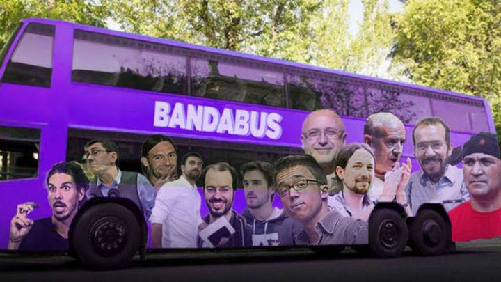 El PP de Madrid contesta al tramabús de Podemos con fotomontaje de su 'bandabús'
