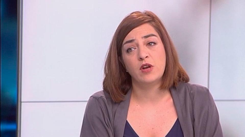 Celia Mayer en el plató de Telemadrid