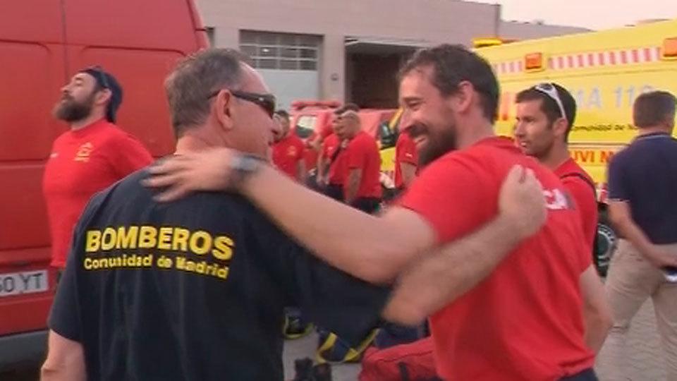 Los bomberos de Madrid regresan de Portugal