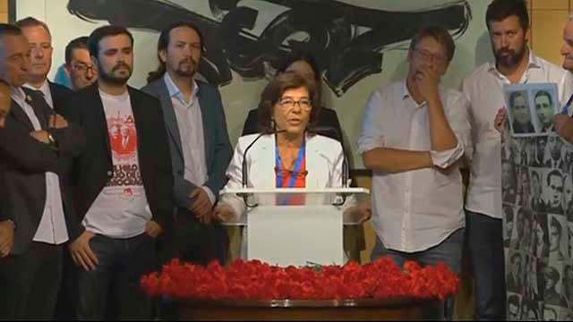 Ana Domínguez con dirigentes de Unidos Podemos y sus confluencias