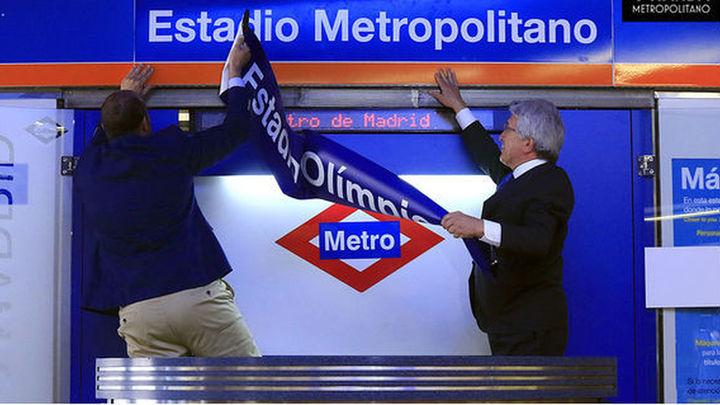Rollán y Cerezo en la nueva estación de Metro Estadio Metropolitano
