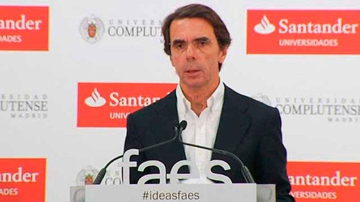 """Aznar pide a Rajoy aplicar la ley """"con normalidad"""" ante el referéndum catalanista"""