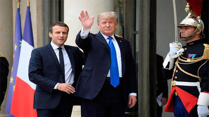 """Macron defiende el acuerdo contra el cambio climático y Trump dice que """"algo podría ocurrir"""""""